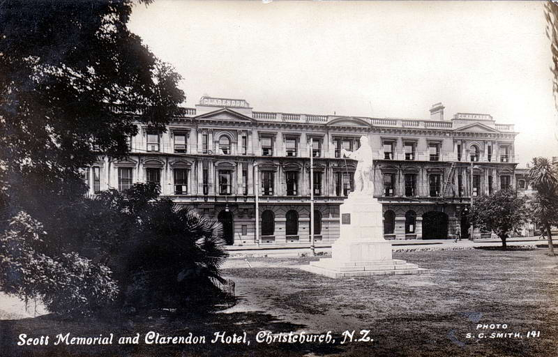 No.141 - Scott Memorial and Clarendon Hotel, Christchurch, N