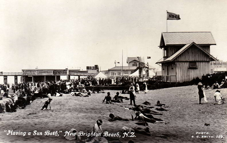 No.159 - Having a Sun Bath, New Brighton Beach, N.Z